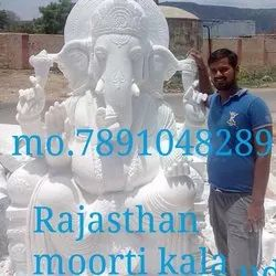 White 7 Feet Lord Ganesh Marble Statue, Wooden Box