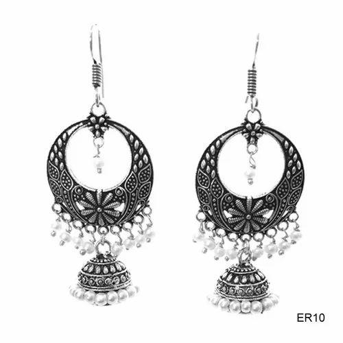 Oxidized Chandbali  Earring