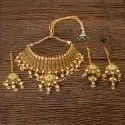 Antique Gold Plated Mukut Necklace 203347, Size: Regular Size And Adjustable