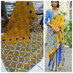 Bagru Hand Block Printed Cotton Mulmul Saree with blouse piece