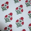 Red Floral Mugal Buta Block Print 100% Cotton Fabric