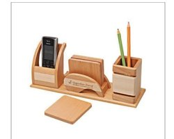 Brown Wooden Mobile and Pen Holder