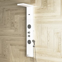 ERIS White Shower Panel With Cascade Flow