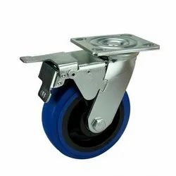 Medium Duty Blue Rubber Wheel with Caster