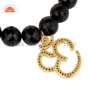 Black Onyx Beaded Diamond OM Bracelet