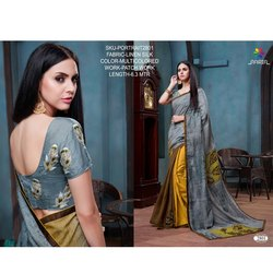 Rachna Linen Silk Patch Work Portrait Catalog Saree For Women