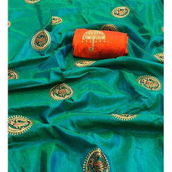 Ladies Embroidered Traditional Saree with Blouse Piece, Saree Length: 5.5 m