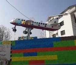 Fiber Airplane Statue For School YK-139