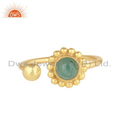 Flower Design 18k Gold Plated 925 Silver Emerald Gemstone Rings