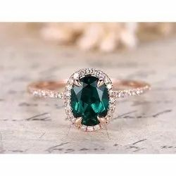 Green Gemstone Diamond Ring