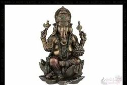 Nirmala Handicrafts Copper Finish Poly Resin Lotus Ganesha Statue Hindu God Idol Figurine