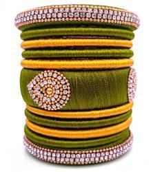 Green & Yellow Silk Thread Bangle Set