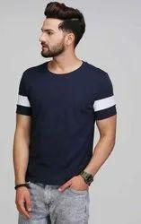 Cotton Navy Blue Half Sleeve T Shirt