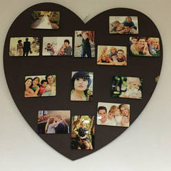 Wooden Brown Heart Shaped Collage Frame, For Decoration