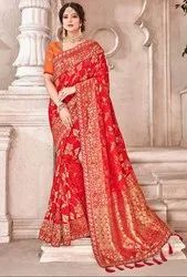 Hot Red Viscose Saree with Banarasi Blouse