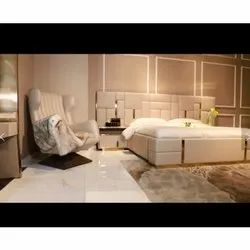 Italian Royal Spectrum Modern Bed With Side Tables In Beige Colour