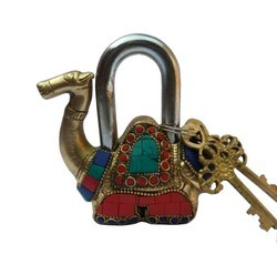Brass Pad Lock Camel Shaped With Colorful Gemstone In Antique By Aakrati