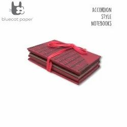 Red Accordion Style With Grey Waves Handmade Notebook