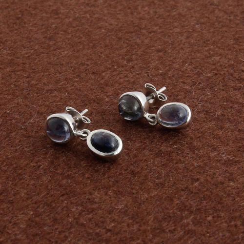 Blue Natural Iolite Earrings Women Fashion Jewelery 1015