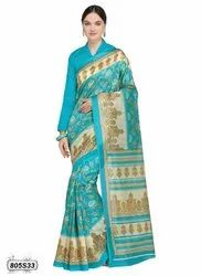 Turquoise Colored Poly Silk Casual Saree