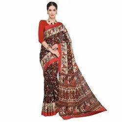 Brown &  Multicolored Art Silk Printed Casual Saree