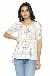 Yash Gallery Women's Cotton Flex Floral Printed Top