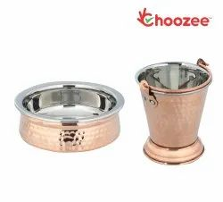 Choozee -Steel Copper Serving Items Set of 2 Pcs (Bucket and Handi) (600Ml)