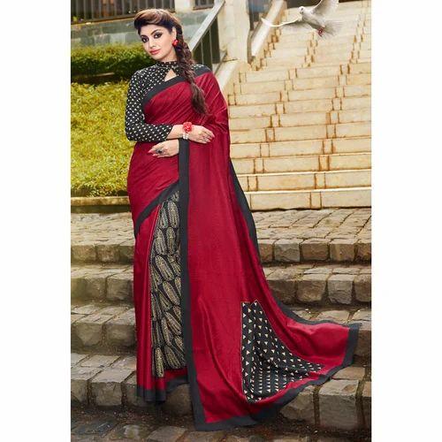 0480a0f204 Bhagalpuri Silk Maroon Printed Casual Wear Saree, Rs 625 /piece | ID ...