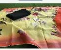 Pure Linen Dress Material With Digital Printed Dupatta