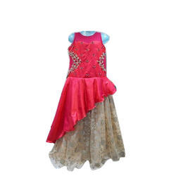 Red Silk Kids Stylish Dress