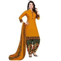 Rajnandini Yellow Crepe Printed Unstitched Dress Material