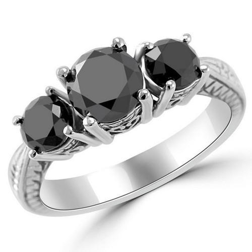 bfed09661b597 3 Stone Black Diamond Ring In 14k White Gold