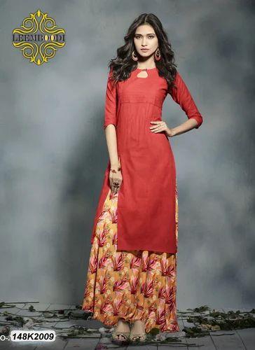 d3e2fc7448 Ladies Cotton Orange Designer Long Kurti, Size: L - XXL, Rs 849 ...