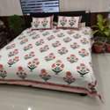 Hand Block Sanganeri Floral Print Cotton Bed Sheet