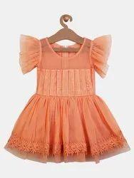 Shreem Kids Girl Girls Peach-Coloured Self Design Fit and Flare Dress