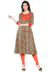 Yash Gallery Womens Cotton A Line Kalamkari Print Kurti