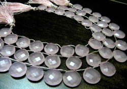 Hydro Rose Quartz Heart shape Briolette Faceted 15mm Beads Strand 8 inch long
