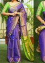Party Wear Plain Ladies Purple Silk Saree, Hand Made, 6.3 M (with Blouse Piece)