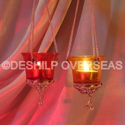 Candle Light Color Glass T- Light Hanging