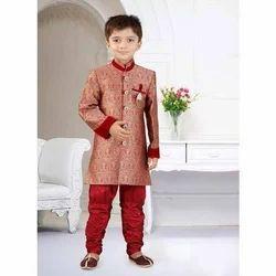 Tussar Silk Self Printed Kids Party Wear Sherwani