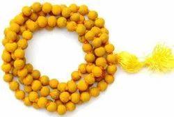 Kesar Zems Haldi Mala - Turmeric Rosary for Baglamukhi Puja -108 1 Bead (Yellow)