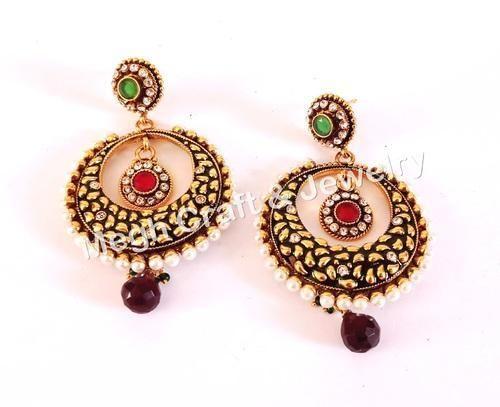3ef924760 MEGH CRAFT South Indian Peacock Design Earring - Designer One Gram gold  Earring