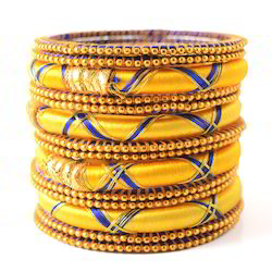 Indian Handicraft Golden Yellow Color Silk Thread Bangle