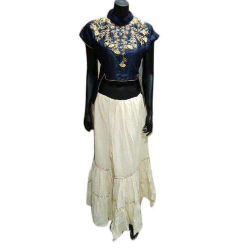 Cotton Western Wear Las Tail Cut Crop Top With Skirt
