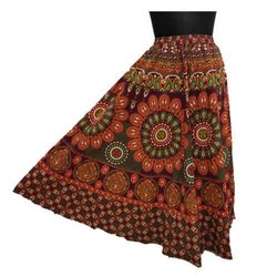 Sheenaz Multicolor Printed Wrap Cotton Skirt