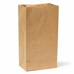 Brown Plain Kraft Paper Grocery Packaging Bag, Capacity: 1-7 Kg