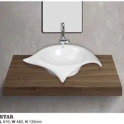 Coto Bathware Ceramic Star Table Top Wash Basin, for Bathroom