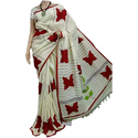 Ladies Cotton White Applique Saree, Length: 6.3 M