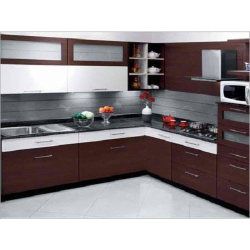 L Shape Brown Modern Modular Kitchen