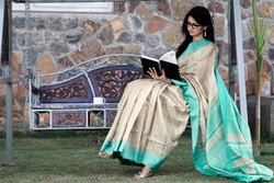 Silk Tasar Gheecha Saree, 6 M (with Blouse Piece)